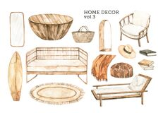 Watercolor design elements of modern interior items. Marrocco vibes. Home decor: wicker sofa, wicker chair, wooden table, arc
