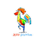 Watercolor design for new year celebration chinese zodiac signs. Original watercolor design for new year celebration chinese zodiac signs with decorative rooster Stock Image