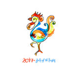 Watercolor design for new year celebration chinese zodiac signs. Original watercolor design for new year celebration chinese zodiac signs with decorative rooster Royalty Free Stock Photos