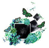 Watercolor design with succulents and photo Stock Images