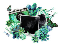 Watercolor design with succulents and photo Stock Photos