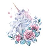 Watercolor design with unicorn and rose vignette. Cute watercolor design with pastel colored unicorn decorated with rose vignette. Hand painted elegant design royalty free illustration
