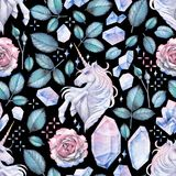 Watercolor design with unicorn and rose vignette Stock Photography