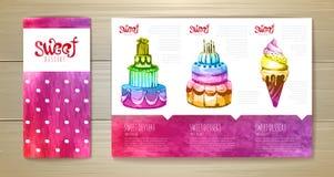Watercolor dessert concept design. Stock Image