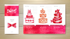 Watercolor dessert concept design. Corporate identity. Document template Royalty Free Stock Images