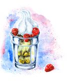 Watercolor dessert Tiramisu stock illustration