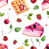 Watercolor desserts and berries seamless pattern.  Royalty Free Stock Photography