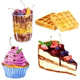 Watercolor desserts with berries Royalty Free Stock Photography