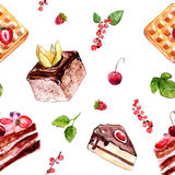 Watercolor desserts seamless pattern with cakes, red currant and cherries.  Stock Images