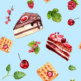 Watercolor desserts seamless pattern with cakes, red currant and cherries. Royalty Free Stock Photography