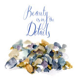 Watercolor details. Vector watercolor sketch with pebbles and lettering Stock Photo