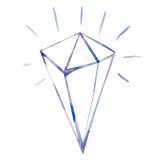 Watercolor diamond, shining brilliant, clipping mask technique Stock Image