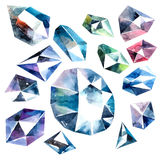 Watercolor diamonds collection Royalty Free Stock Photography