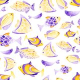Watercolor different fish pattern. Ultra violet and gold. Watercolor fish pattern. Ultra violet and gold colors. For children design, print or background Stock Photos