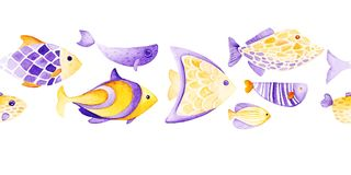 Watercolor different fish pattern. Ultra violet and gold colors. For children design, print or background. Watercolor fish pattern. Ultra violet and gold colors Royalty Free Stock Photo