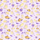 Watercolor different fish pattern. Ultra violet and gold colors. For children design, print or background. Watercolor fish pattern. Ultra violet and gold colors Stock Images