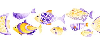 Watercolor different fish pattern. Ultra violet and gold. Watercolor fish pattern. Ultra violet and gold colors. For children design, print or background Royalty Free Stock Photos