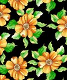 watercolor digital flower pattern on black royalty free illustration