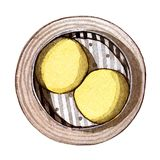 Watercolor dim sum, golden custard bun. Watercolor asian food dim sum. Delicious golden custard bun in bamboo steamer on white background. Isolated box with Royalty Free Stock Photography