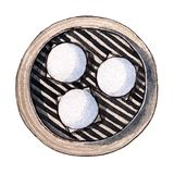 Watercolor dim sum, lotus seed paste bun. Watercolor asian food dim sum. Delicious lotus seed paste bun in bamboo steamer on white background. Isolated box with Stock Photography