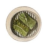 Watercolor dim sum, rice wrapped in lotus leaf. Watercolor asian food dim sum. Delicious sticky rice wrapped in lotus leaf in bamboo steamer on white background Stock Image