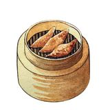 Watercolor dim sum in wooden steamer. Watercolor chinese dim sum in wooden steamer on white background Royalty Free Stock Photos