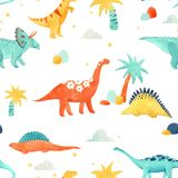 Watercolor dinosaur baby vector pattern royalty free illustration