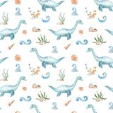Watercolor dinosaur prehistoric period. Illustration of an elasmosaurus underwater for kindergarten, wallpaper, cards, invitations, childish design. Seamless stock illustration