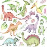 Watercolor Dinosaurs Collection Royalty Free Stock Image