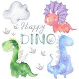 Watercolor dinosaurs set royalty free illustration