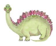 Watercolor Dinosaurs Stegosaurus Stock Photos
