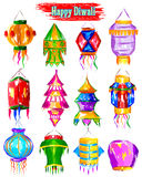 Watercolor Diwali kandil for decoration Stock Images