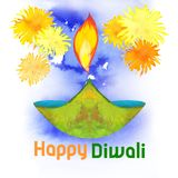 Watercolor diwali lamp with wishes and fireworks. On blue watercolor background royalty free illustration
