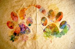 Watercolor dog footprint, old paper background Stock Photography