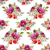 Watercolor dogrose pattern Royalty Free Stock Photography