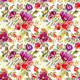 Watercolor dogrose pattern Stock Photo