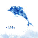 Watercolor dolphin background. Watercolor blue decorative dolphin background Stock Photo