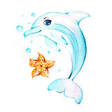 Watercolor dolphin Stock Photo