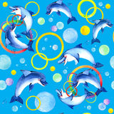 Watercolor Dolphins playing. Royalty Free Stock Photography