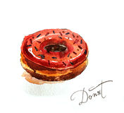 Watercolor donut Stock Photography