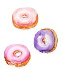 Watercolor donuts Στοκ Εικόνες