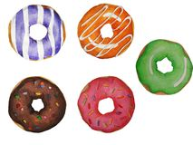 Colored watercolor donuts. stock illustration
