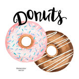 Watercolor donuts and ink hand lettering on a white background. vector illustration