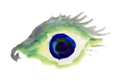 Watercolor Doodle σχεδίων ματιών Στοκ Εικόνα