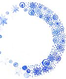 Watercolor doodle. Blue ribbon
