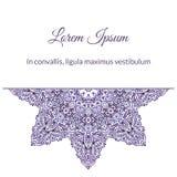Watercolor doodle decorative border. Purple snowflake watercolor doodle decorative border Stock Photos