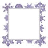Watercolor doodle decorative frame. Winter snowflake watercolor decorative frame in purple color Stock Photos