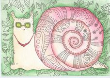 Snail in sunglasses. Watercolor doodle about a happy pink snail in sunglasses that crawls in the middle of a green grass Stock Image