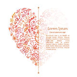 Watercolor doodle  heart. Valenine's card. Template. Creative design for text block Royalty Free Stock Images