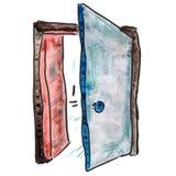 Watercolor door light blue cartoon figure Royalty Free Stock Photography